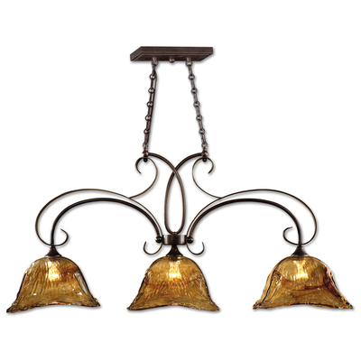 oil rubbed bronze kitchen island lighting rv uttermost vetraio 3 lt 21009 fixtures 10 finish with toffee art glass shades size h 23 l 47 w 13 upc 792977210093 mpn width length 0 height