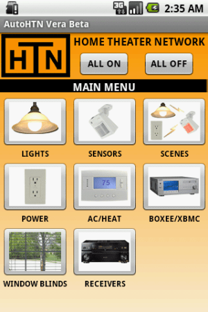 AutoHTN  Home Automation App for control of lights, security, cameras, receivers, window blinds