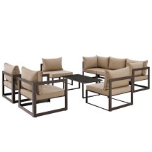 Fortuna 8 Piece Outdoor Patio Sectional Sofa Set Brown Arm