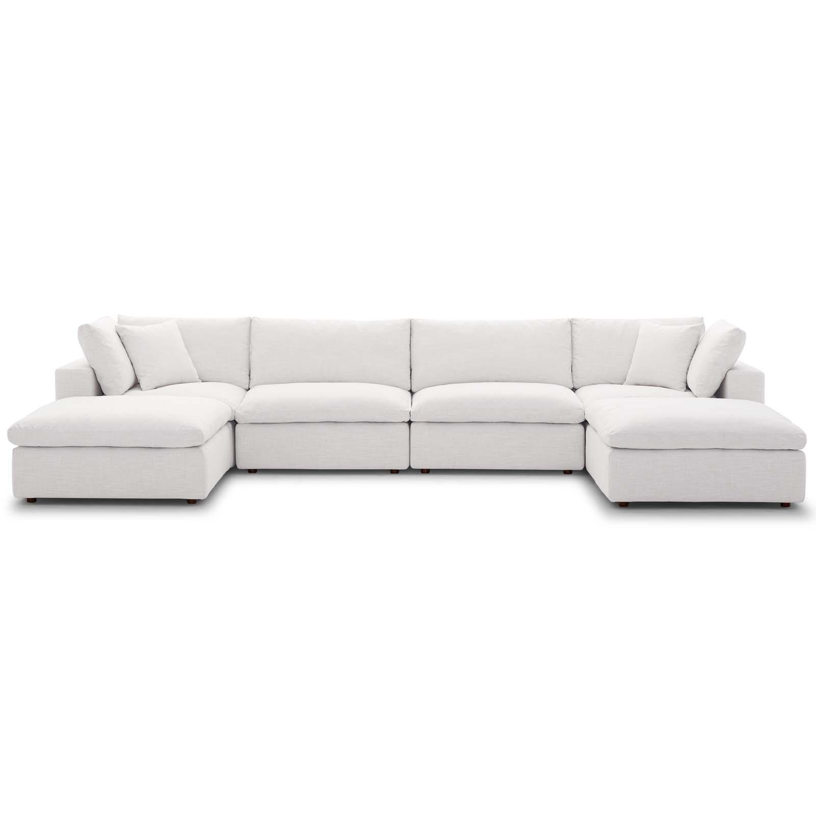commix down filled overstuffed 6 piece sectional sofa set beige