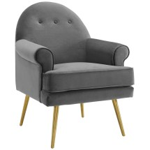 Revive Tufted Button Accent Performance Velvet Armchair Gray