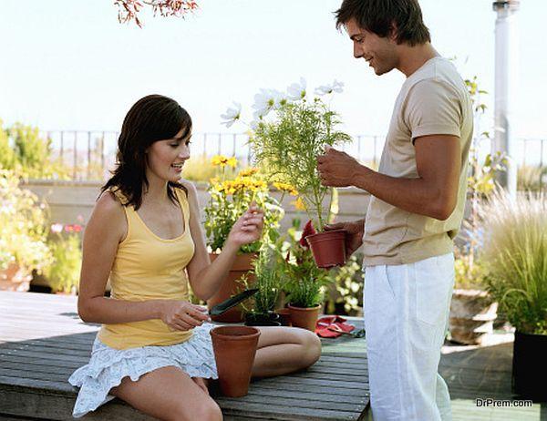 Couple potting plants on garden terrace, smiling