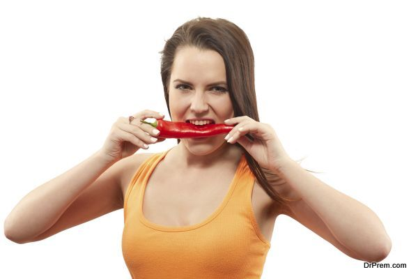 biting sweet pepper