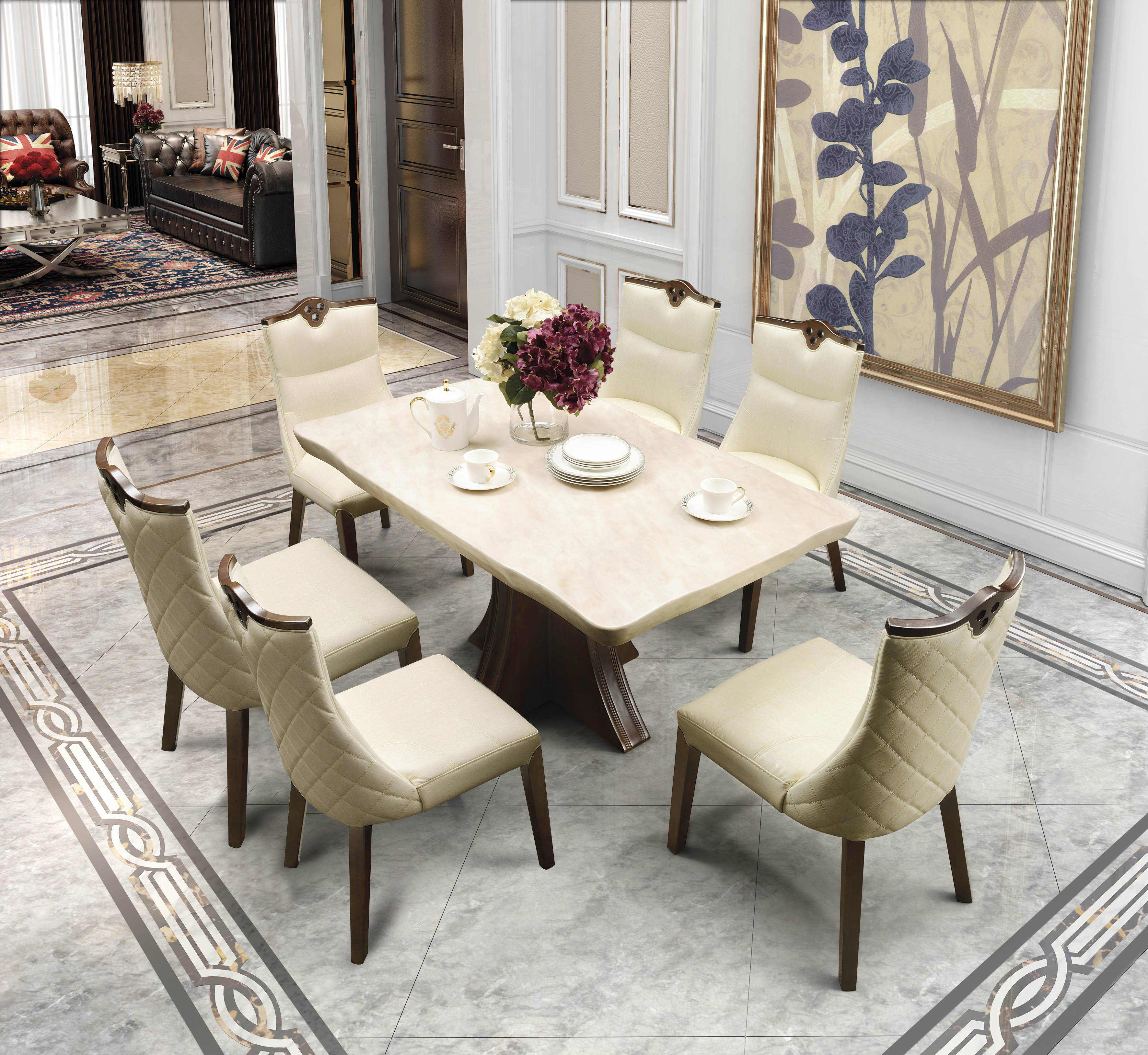 alston marble six seater dining set in ivory color by hometown