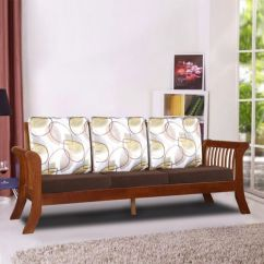 Wooden Sofa Designs For Living Room Comfortable Sofas Cheap Buy Stylish Online At Best Price Hometown Aubrey Solid Wood Three Seater With Cushion In Dirty Oak Colour By
