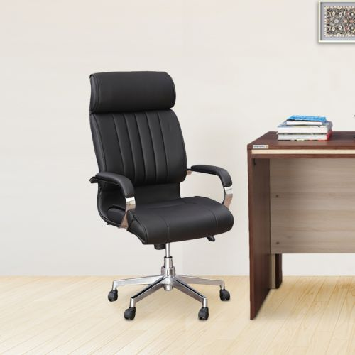 steel chair buyers in india rail installation office chairs buy executive online quadra half leather high back black colour by hometown