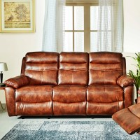 Buy Logan Fabric Three Seater Recliner in Brown Colour by