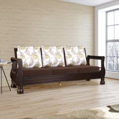 Living Room Wooden Sofa Furniture Accent Wall Ideas For Small Buy Stylish Designs Online At Best Price Hometown Clyde Solid Wood Three Seater With Cushion In Dark Cappuccino Colour By