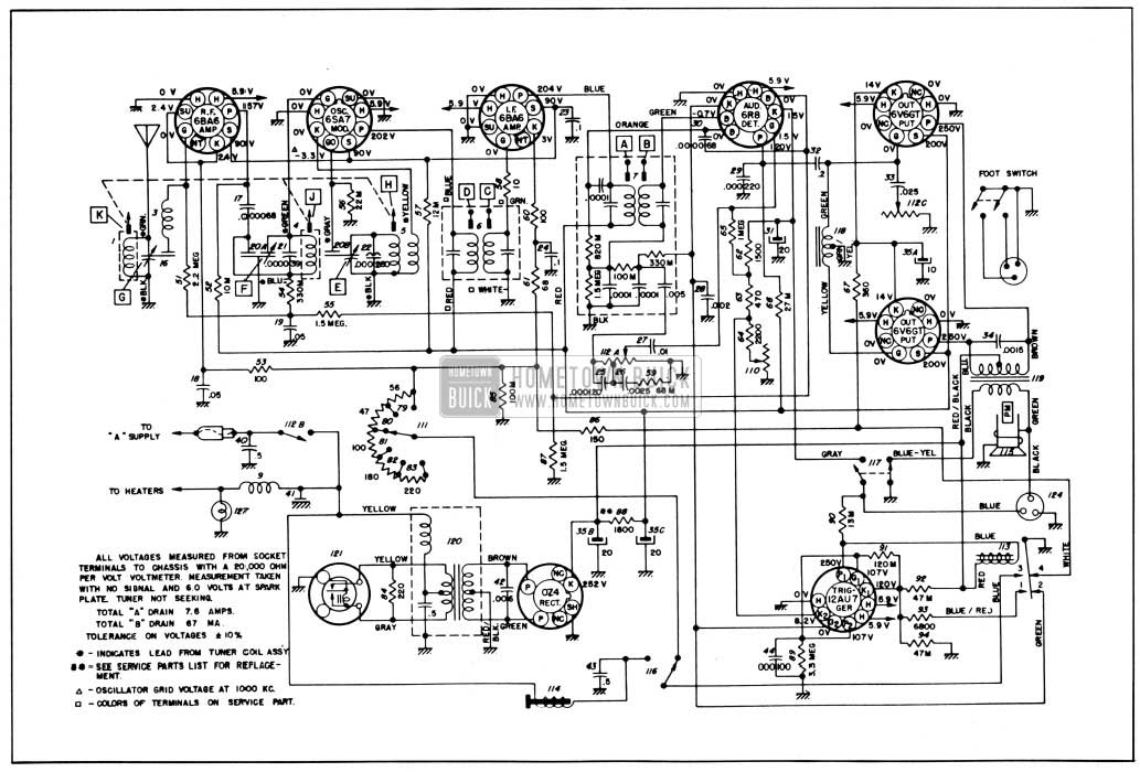 1950 Buick Radio Circuit Schematic-Selectronic Radio