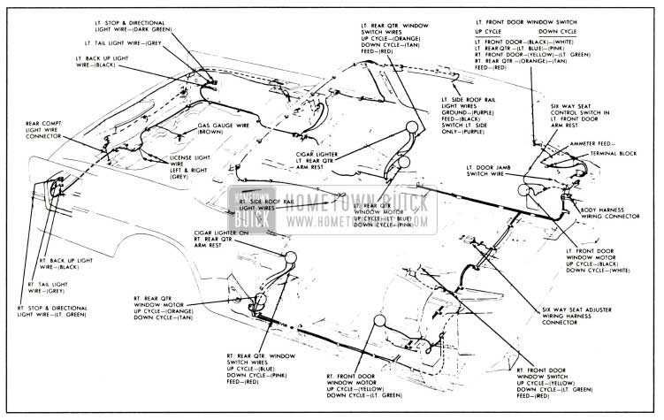1958 Buick Body Wiring Cinuit Diagram-Series 50-70-700 Two