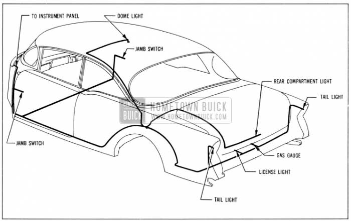 1956 Buick Body Wiring Circuit Diagram-Model 56R-Style