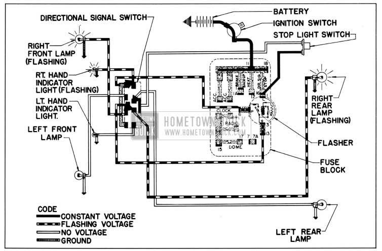 1958 Buick Direction Signal Lamp Circuit Diagram-Right