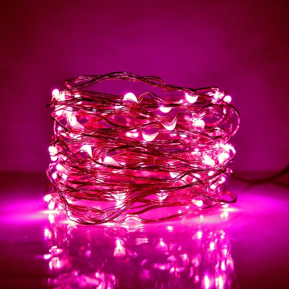 33 Foot Plug In Led Fairy Lights 100 Pink Micro Led