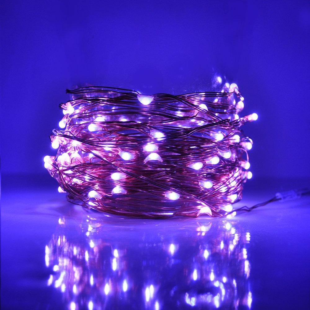 33 Foot Plug In Led Fairy Lights 100 Purple Micro Led