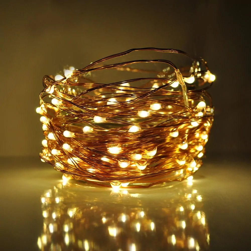 size 40 0c86c 7b36d 33 Foot - Plug in LED Fairy Lights- 100 Warm White Micro LED Lights on  Silver Wire