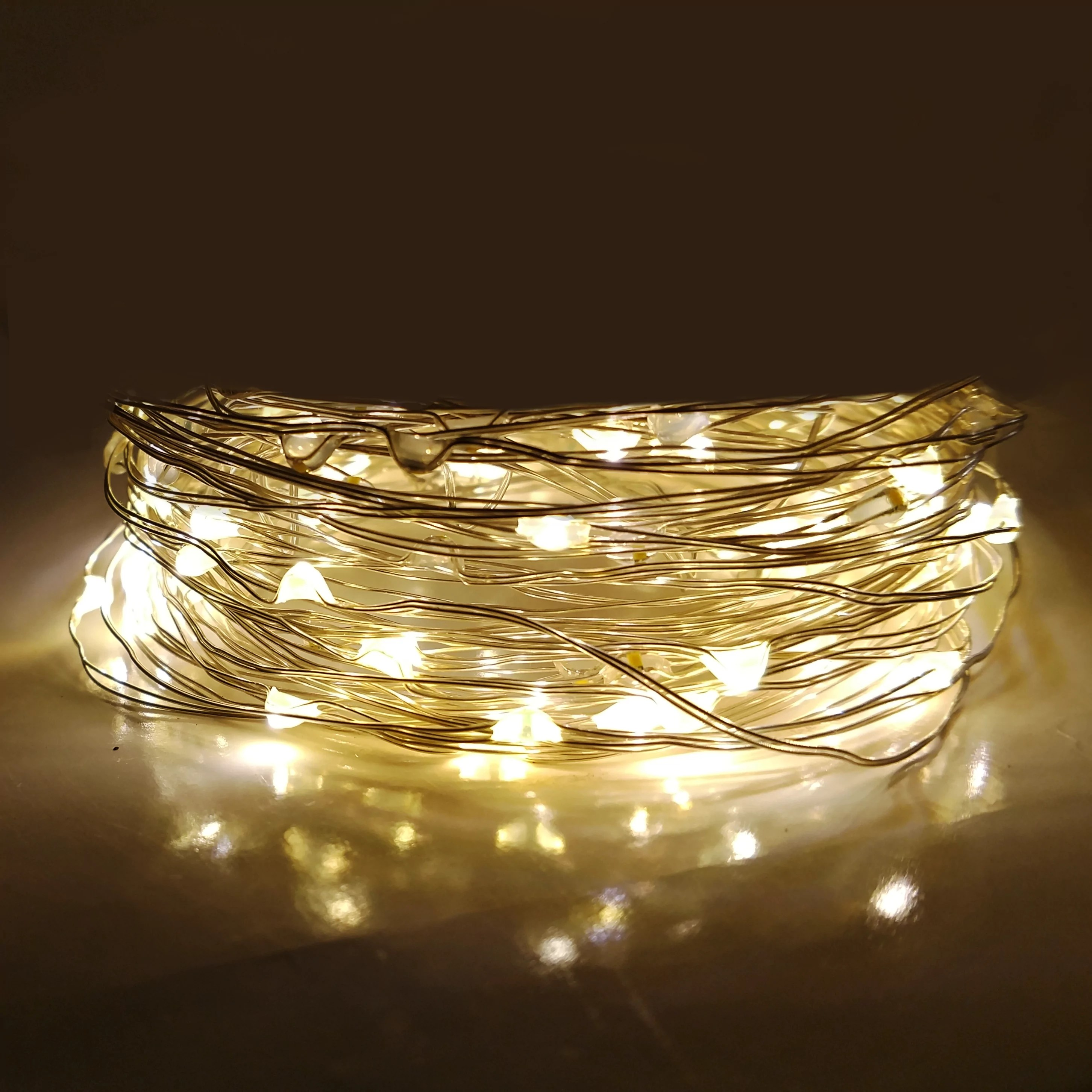the latest b270c f96d3 Solar Powered LED Fairy Lights - 16.5 Foot - Waterproof with 50 Warm White  Micro LED Lights on Silver Wire - 8 Modes