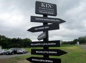 KIN Vineyards directional sign.