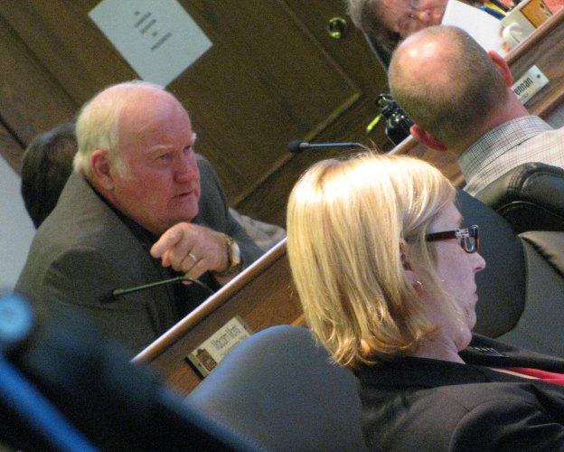 Councillor Joe Gallipeau confers with Troy Dunlop