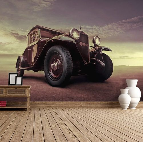 Owning a collection of automobiles is almost a rite of passage for pop icons and many stars are known for their vintag. Vintage Car Wall Murals Homewallmurals Co Uk