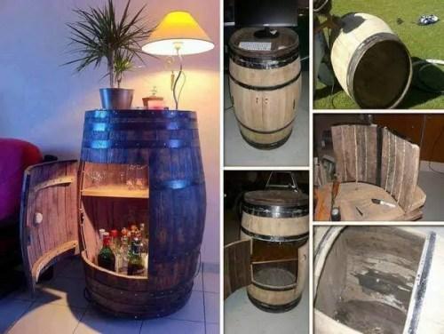 DIY Home Bar Wine Barrel Cabinet