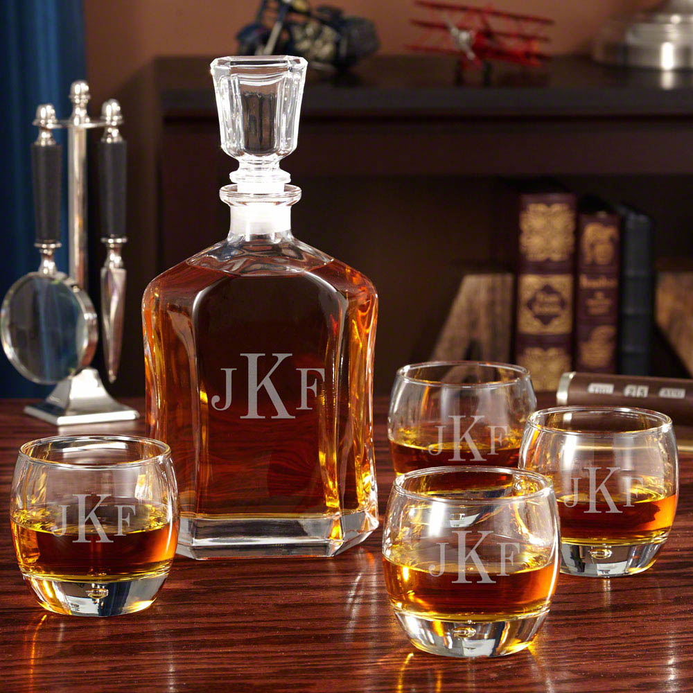 monogrammed decanter and glass set