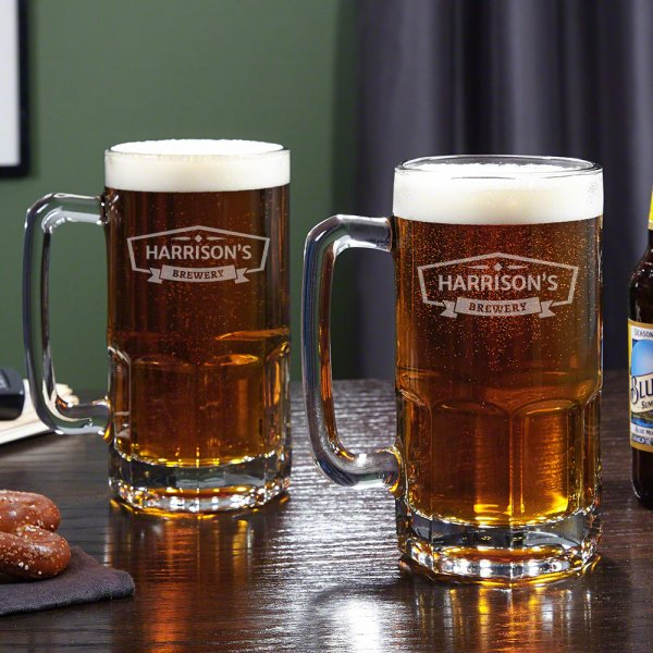 Colossal Classic Brewery Personalized Beer Mugs Set Of 2