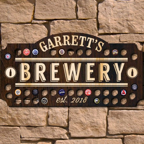 Home Brewery Beer Cap Custom Wall Sign Signature Series