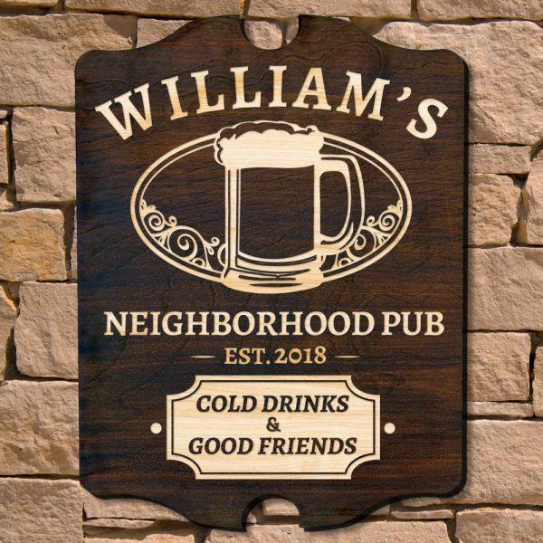 Good Friends Gathered Custom Bar Sign Signature Series