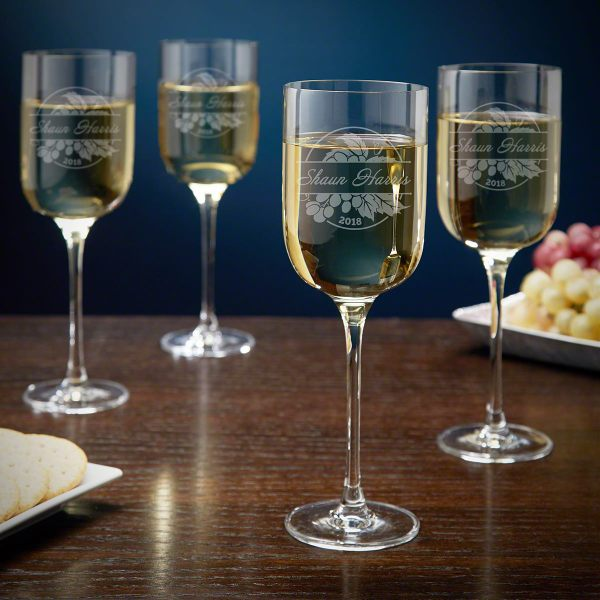Rhone Valley Personalized Long Stem Wine Glasses Set Of 4