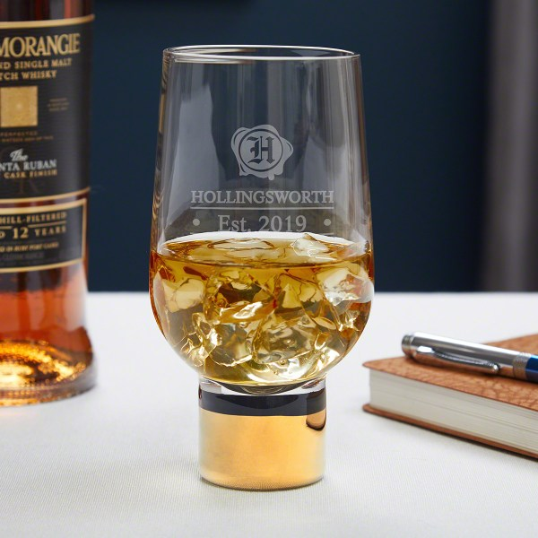 Wax Seal Personalized Whiskey Glass With Gold Stem