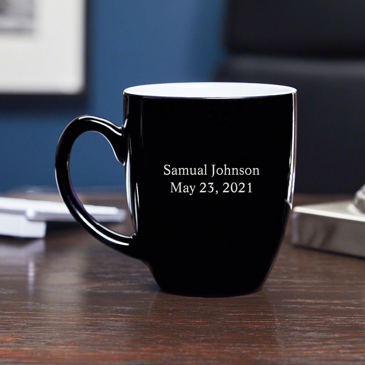 personalized coffee mug black