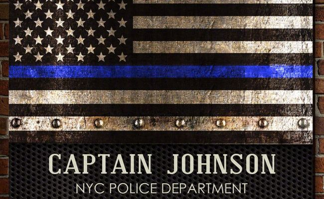 Courage And Honor Thin Blue Line Customized Wooden Sign