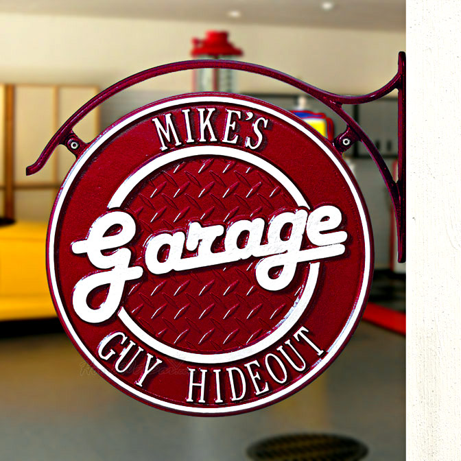 DualSided Personalized Garage Hanging Wall Plaque