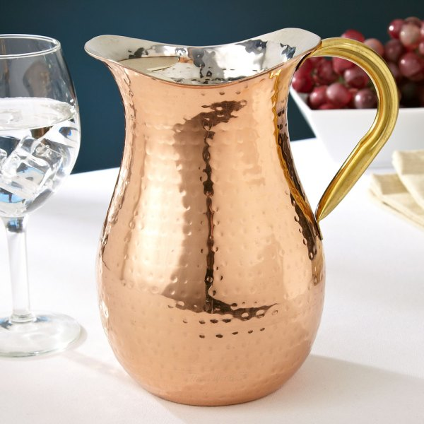 Hammered Copper Pitcher With Ice Guard 1.25 Quarts