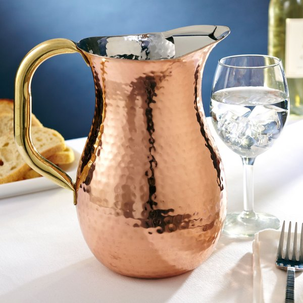 Hammered Copper Pitcher With Ice Guard 2.25 Quarts