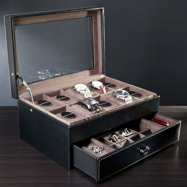 Treviso Leather Valet Box And Ten Watch Display Case