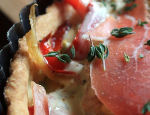 Prosciutto, Goat Cheese, Fennel and Red Bell Pepper Tartlet