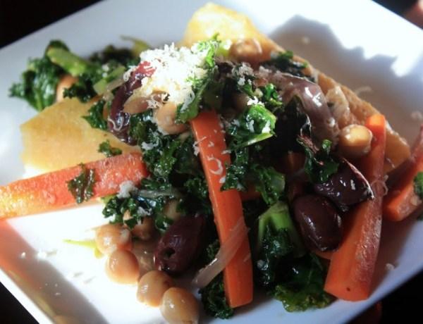 Tuscan Kale, Cannellini Bean, and Kalamata Olive over Polenta