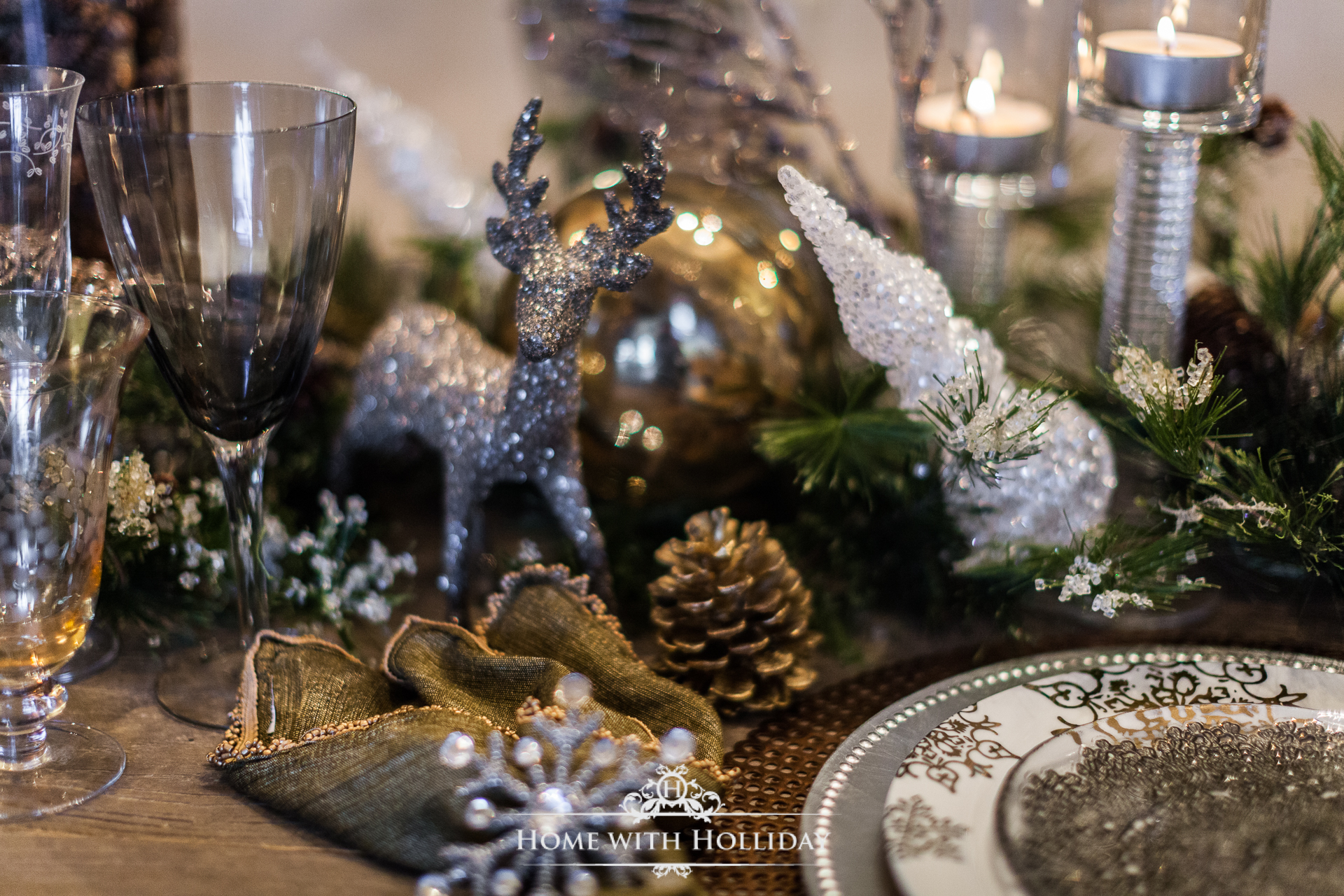 Winter Glam Christmas Table Centerpiece