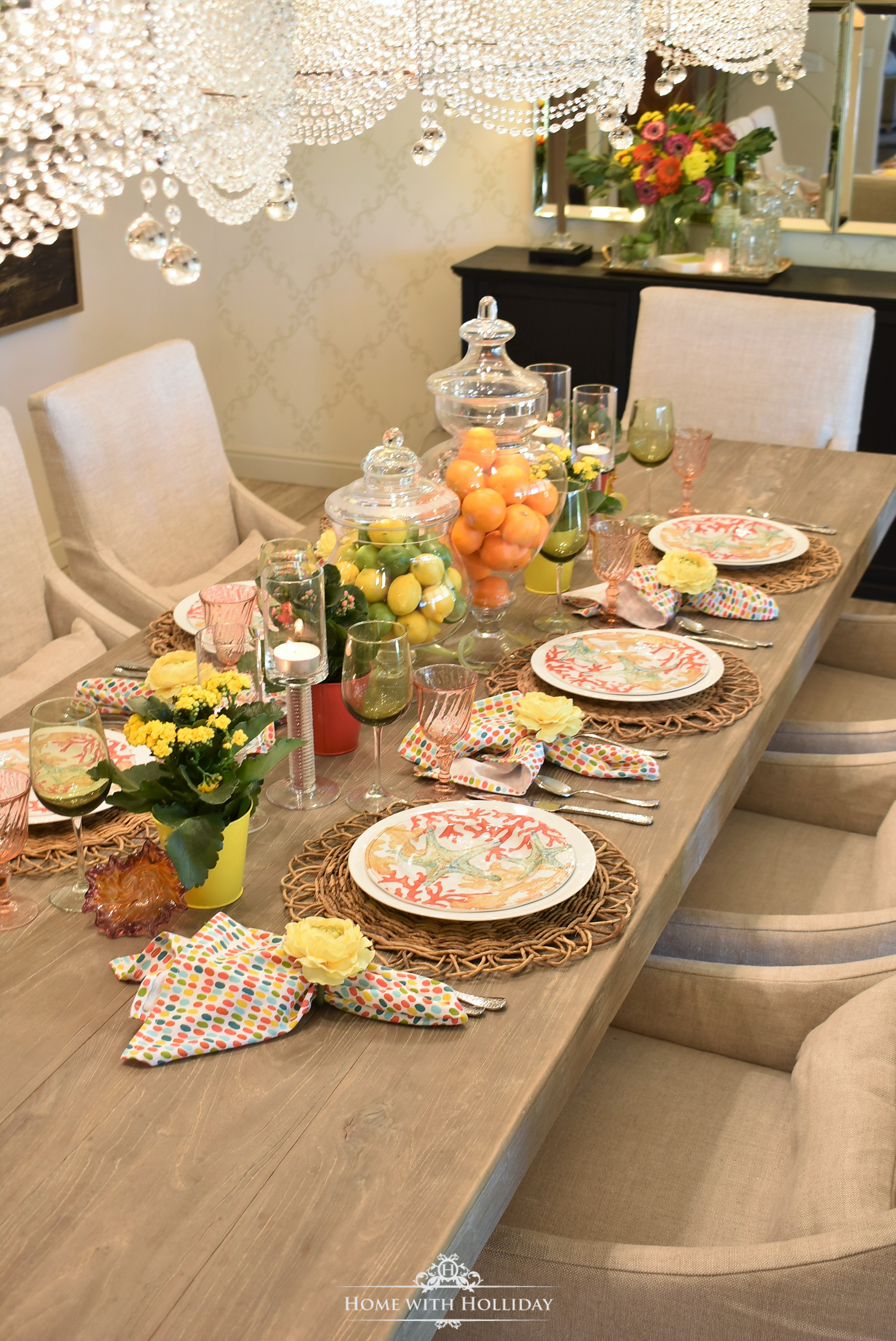 Creating a Simple Tropical Summer Table Setting - Home with Holliday
