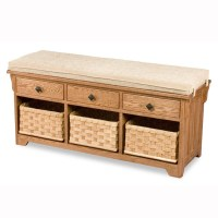 Lattice Weave Drawer Bench with Baskets & Cushion - Home ...