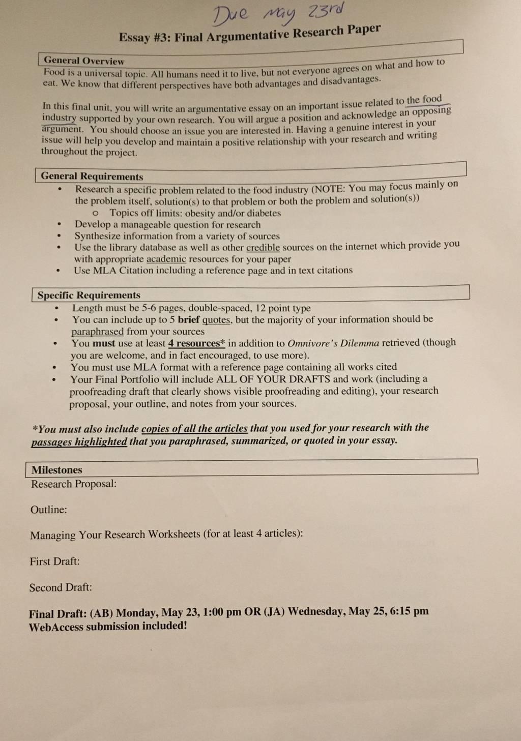 Final Argumentative Essay Research Paper Help