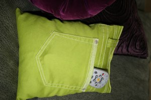 Recycled Jeans TV Remote Pocket Pillow