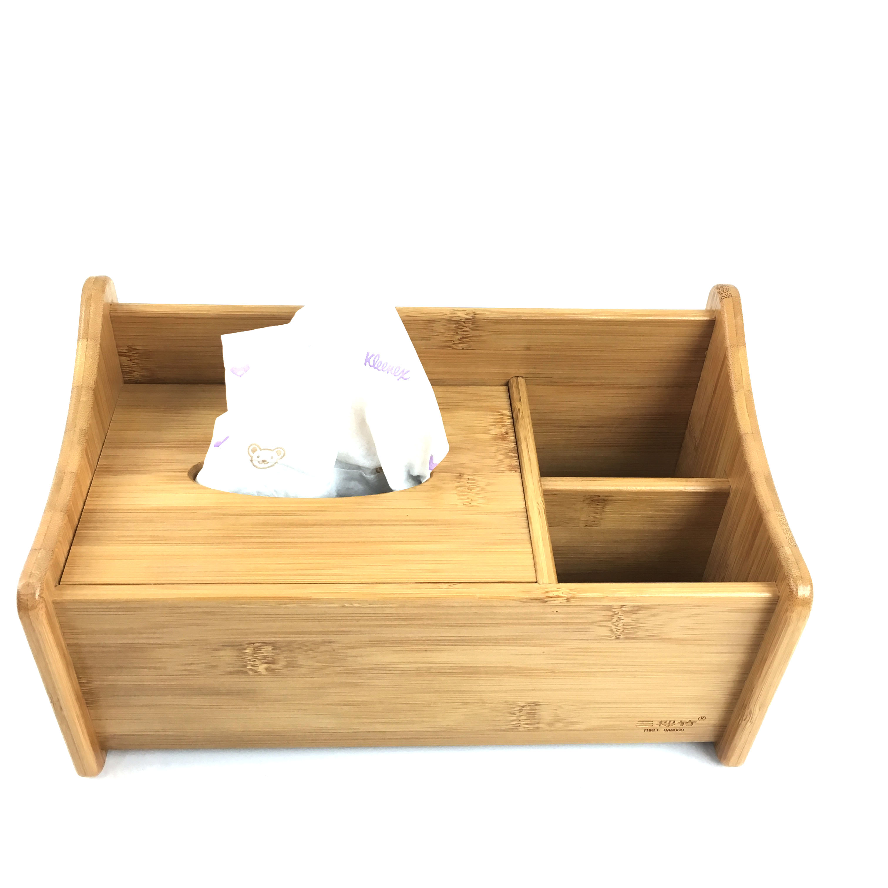 Multifunction Bamboo Tissue Box Desk Organizer From Homex