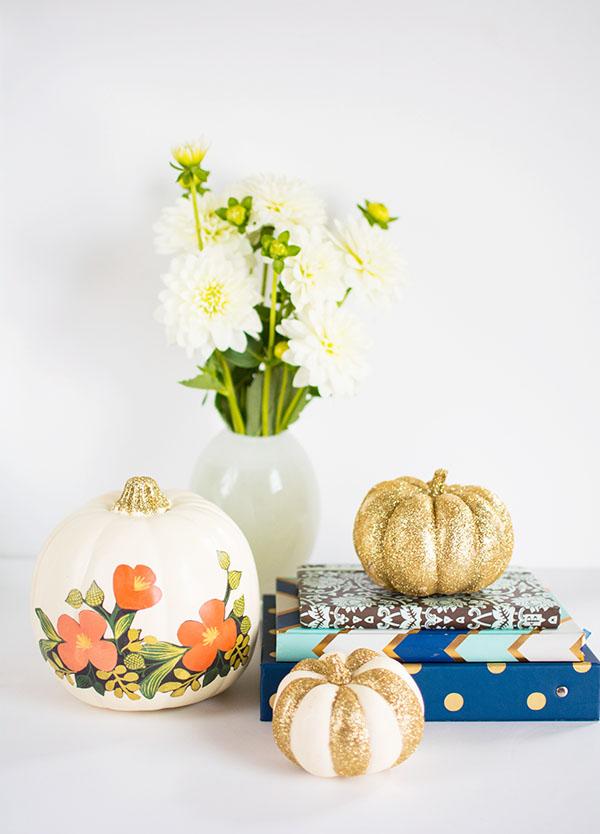 DIY Floral and glitter no carve pumpkins