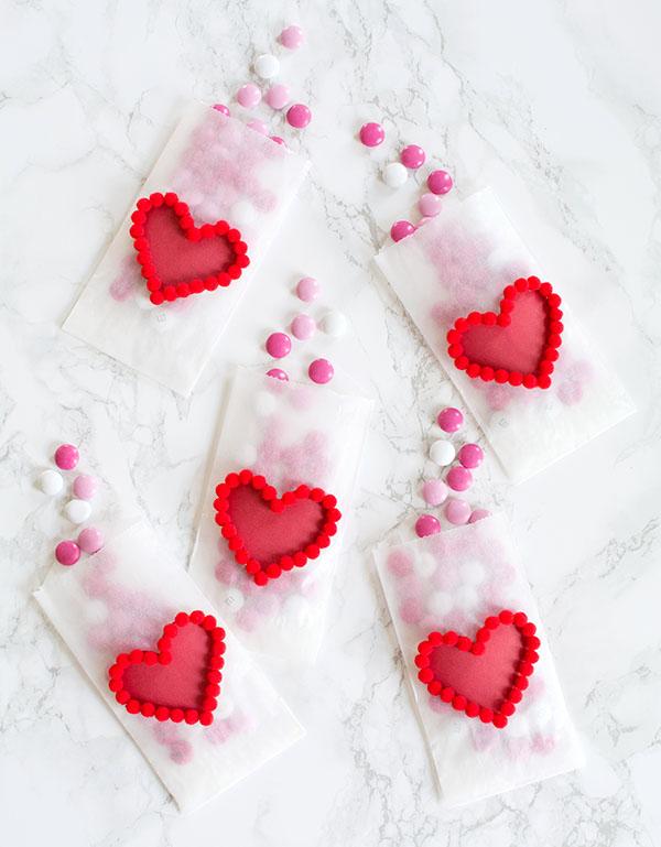 DIY Valentines Day Heart Pom Pom Treat Bags