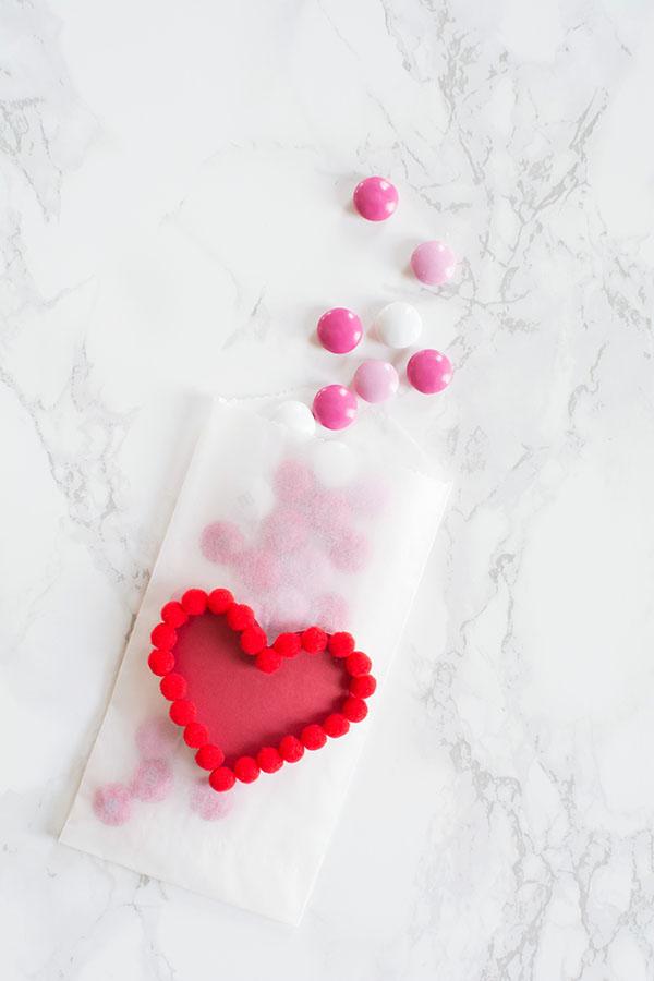 Pom pom heart treat bag DIY
