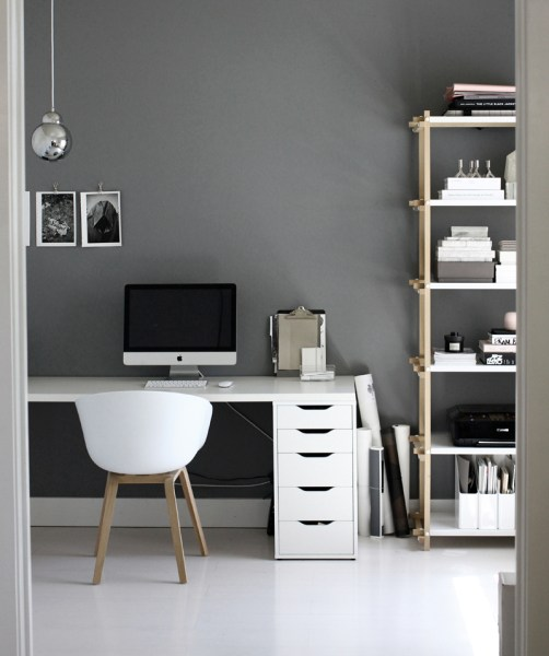 dark grey home office Black and White Workspaces - Homey Oh My