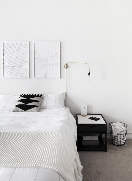 black and white minimalist bedroom ideas How to Achieve a Minimal Scandinavian Bedroom - Homey Oh My