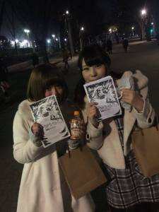 PoroPoro Baroque members flyering to promote their idol group